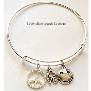 Jewelry - Silver Peace Sign Charm Bracelet Love Smiley Emoji